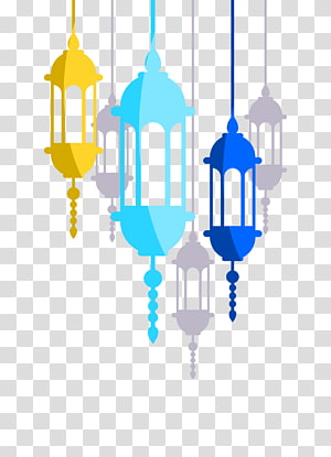 Convite de casamento Alcorão Islam Lanterna, lanterna, três lâmpadas amarelas, azuis e azul-petróleo penduradas PNG clipart