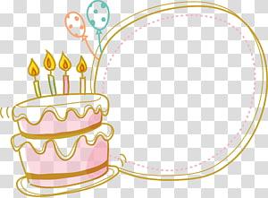 Bolo de aniversário, borda de bolo e arte de parabéns PNG clipart