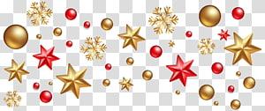 Decoração de Natal Enfeite de Natal Árvore de Natal, Decorações de Natal, estrelas amarelas e vermelhas e flocos de neve png