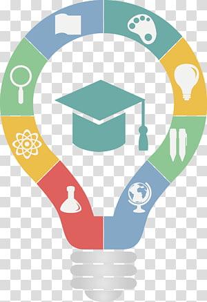 ilustração de lâmpada, escola de logotipo do professor de educação, lâmpada pintada PNG clipart