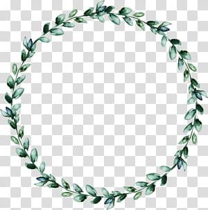Coroa de folhas, grinalda em aquarela de folhas verdes, coroa de folhas verdes PNG clipart