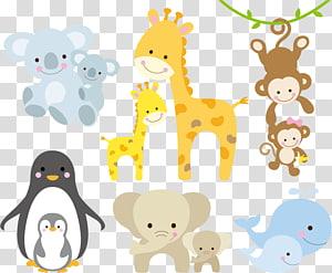 Ilustração infantil girafa, Animal, ilustração de animais animados variados PNG clipart