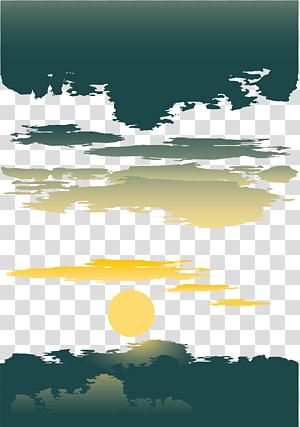 ilustração da lua, pôr do sol PNG clipart