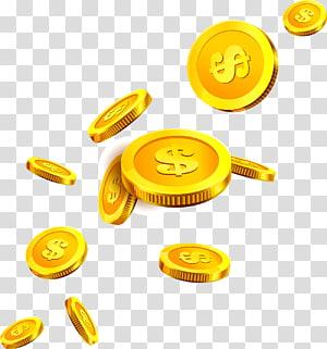 Ícone de moeda de ouro, moedas flutuantes, ilustração de moedas png