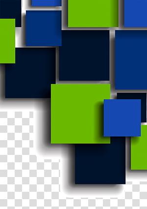 conjunto de quadrados azuis e verdes, ciência quadrado azul, fundo quadrado colorido PNG clipart
