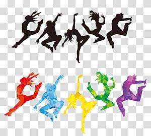 de pessoas pulando, silhueta de dançarina de balé, dançarina colorida PNG clipart