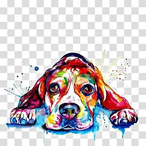 pintura de cachorro multicolorido, impressão de golden retriever de buldogue francês de Beagle, filhote de cachorro em aquarela png
