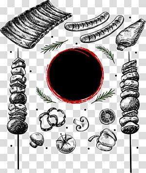 arte de alimentos de churrasco, costeleta de salsicha de churrasco cozinha japonesa, churrasco de elemento de esboço desenhado à mão png
