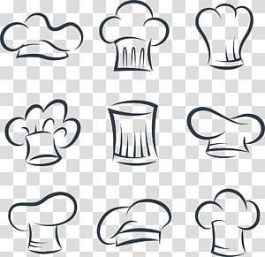 ilustração de boné de chef sortido, chapéu uniforme de cozinheiro chefs euclidiano, chapéu de chef de jantar pintado à mão png