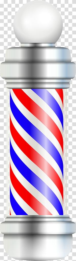 poste de barbeiro cinza, branco e azul, poste de barbeiro barbearia cabeleireiro, coluna rotativa de cor PNG clipart