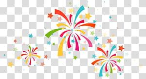 Festa de confetes, decoração de confetes, queima de fogos multicolorida png