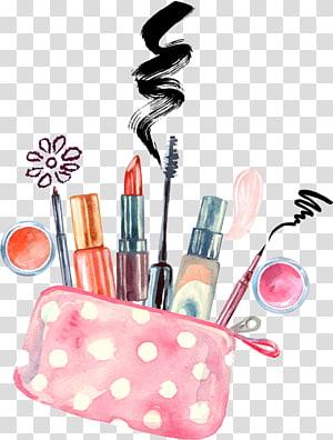 cosméticos aquarela pintor make-up artist desenho, maquiagem pintada à mão, ilustração de lote de maquiagem sortidas PNG clipart