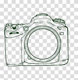 Ilustração da câmera DSLR, Câmera de desenho, Câmera desenhada à mão png