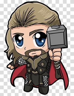 Marvel thor ilustração de personagem, thor chibi, os vingadores png