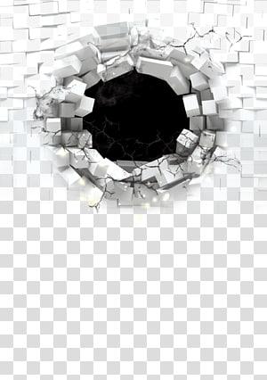 Parede de tijolo, buracos de bala, parede de tijolo branco com furo png