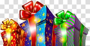 Caixas de presente de Natal, ilustração de três caixas de presente de cores sortidas PNG clipart