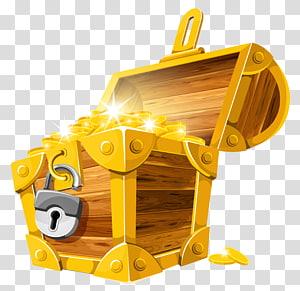 Tesouro enterrado, baú de tesouro de moedas de ouro, ilustração de caixa de tesouro png