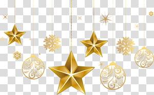 decorações de estrela e bugiganga de ouro, enfeite de Natal, árvore de Natal de estrela de Belém, enfeites de natal de estrela png