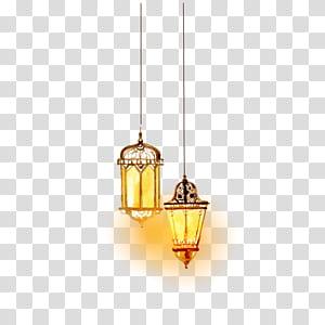 Islã de iluminação, bela iluminação islâmica em aquarela, duas lâmpadas de suspensão PNG clipart