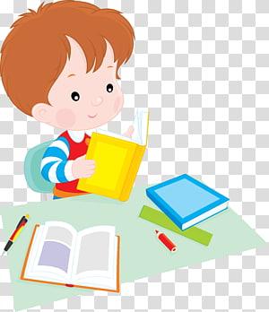 Aluno Reading, crianças em idade escolar, menino de cabelos castanho, segurando a ilustração do livro PNG clipart