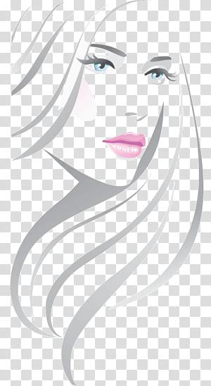 Ilustração de salão de beleza, linha moda bonita, ilustração de retrato de mulher PNG clipart