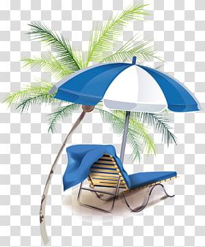 espreguiçadeira de praia com guarda-chuva ao lado de coqueiro, férias de verão férias de verão, férias de verão criativas PNG clipart