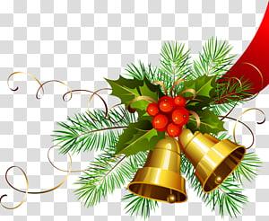 Dia de Natal Decoração de Natal Jingle bell, sinos de ouro de Natal, planta sagrada e ilustração de sinos PNG clipart