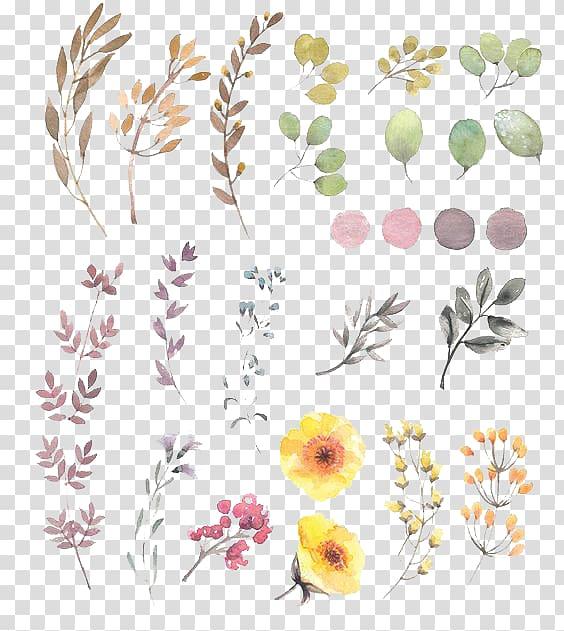 flor de pintura em aquarela, desenho de design floral, flores pintadas à mão, ilustração em cores sortidas flores pétalas PNG clipart