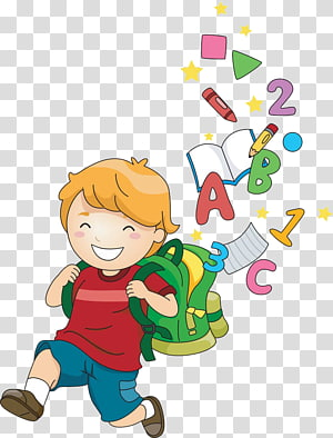 menino, indo para a ilustração de escola, escola infantil Cartoon, crianças aprendem PNG clipart