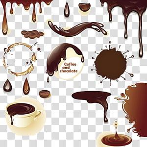 ilustração de café e chocolate, café Chocolate quente Sorvete de chocolate, chocolate PNG clipart