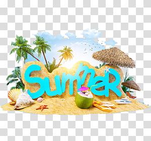 Férias de verão Praia férias verão 4 dois, férias de verão, ilustração do tema de verão PNG clipart