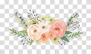 Música acústica BTS flor acordada, flores pintadas à mão, flores brancas e rosa png