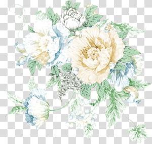 flores brancas em ilustração de flor, cartaz de flores, flores pintadas à mão png