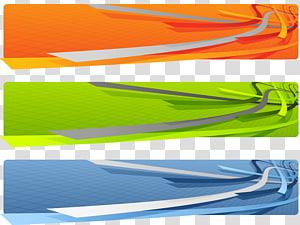 três ilustrações laranja, verdes e azuis, Web banner 3D gráficos de computador Ilustração, 3D web banners Resumo conjunto png