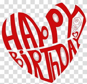 desejo de aniversário coração partido feriado, coração feliz aniversário, texto vermelho feliz aniversário png
