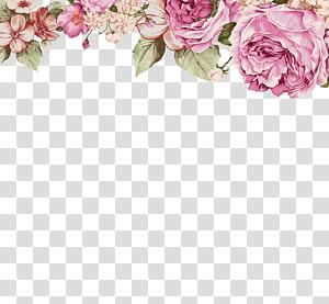 Ilustração de pintura de flores de papel, flores pintadas à mão, flores cor de rosa PNG clipart