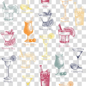 ilustração de copo de bebida sortida, coquetel cosmopolita Martini bebida bebida alcoólica, copos maravilhosamente pintados à mão bebidas material png