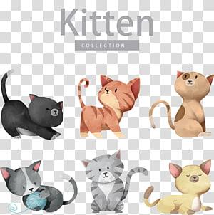 Cat Dog Kitten Illustration, gato bonito dos desenhos animados, ilustrações de coleção de gatinho PNG clipart