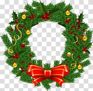 Guirlanda de Natal Papai Noel, guirlanda de Natal grande, guirlanda verde e vermelha PNG clipart