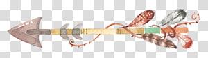 seta multicolorida com pena, pena do desenho da pintura da aguarela, seta boho png