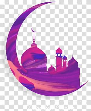 Nação do Islã Alcorão Ramadã muçulmano, lua roxa pintada e Mesquita do Islã, símbolo do Ramadã Kareem PNG clipart