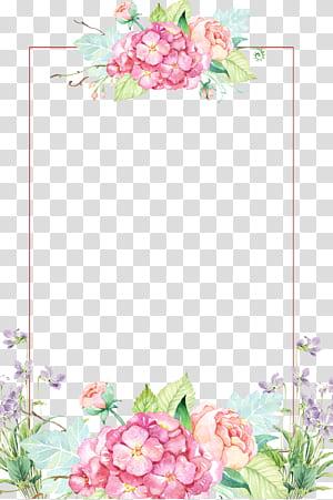 Flor, belas fronteiras de flores, borda floral rosa e amarela PNG clipart