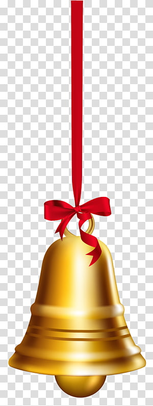 Sino de Natal dourado, Bell Christmas, Gold Bell PNG clipart