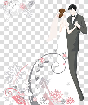 Convite de casamento Bolo de casamento, Cartoon casal s, noiva e noivo ilustração PNG clipart