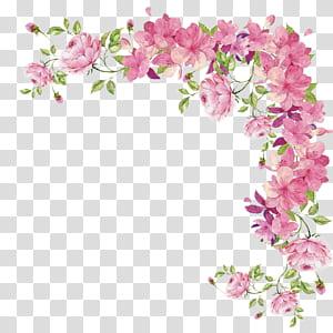 Flor, pequenas flores frescas pintados à mão fronteira, rosa flor fronteira PNG clipart