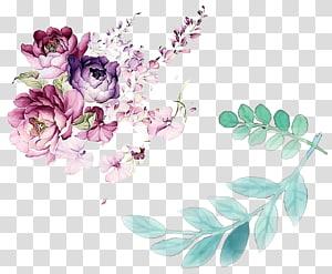 Design floral Pintura em aquarela Flor, folhas de flores em aquarela decoradas, flores de cores sortidas png
