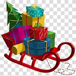carrossel cheio de presentes ilustração, presente, trenó de Natal com presentes PNG clipart
