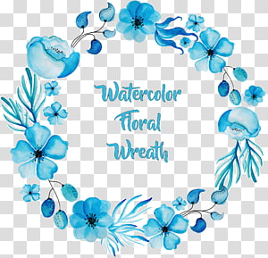 Pintura em aquarela Flor azul, grinalda de aquarela azul requintada, grinalda de aquarela em aquarela PNG clipart