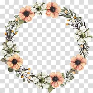Grinalda Design floral Guirlanda de flores, uma guirlanda, flores brancas e laranja grinalda ilustração PNG clipart
