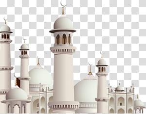 Mesquita Kaaba Eid Mubarak Eid al-Fitr Ramadan, arquitetura islâmica sobre fundo azul, mesquita branca PNG clipart